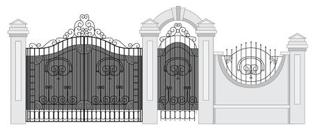 metal gate: old street fence and gate vector Illustration