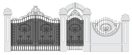 entrance gate: old street fence and gate vector Illustration