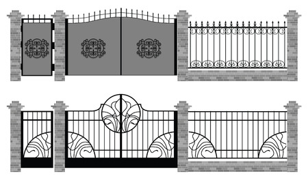 entrance: old street fences and gates vector Illustration