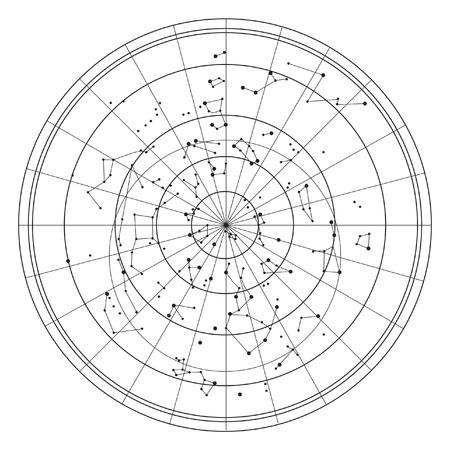 constelaciones: Mapa del cielo con estrellas y constelaciones vector Vectores