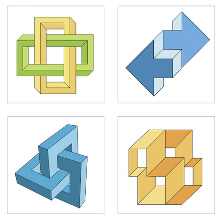 illusions: different multicolored optical illusions of unreal geometrical objects vector