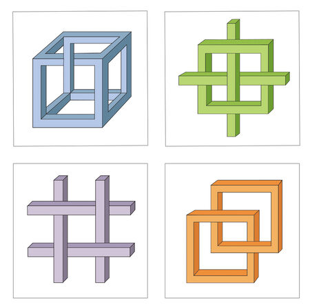 unreal: different multicolored optical illusions of unreal geometrical objects vector
