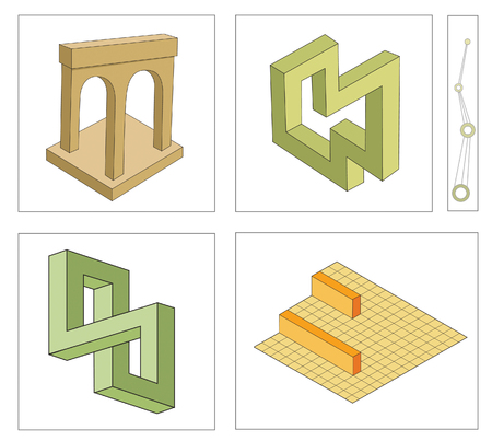 optical illusion: different multicolored optical illusions of unreal geometrical objects vector