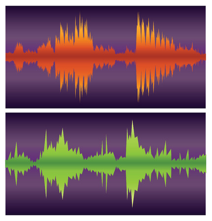 green and orange sound waves on purple, vector Vector