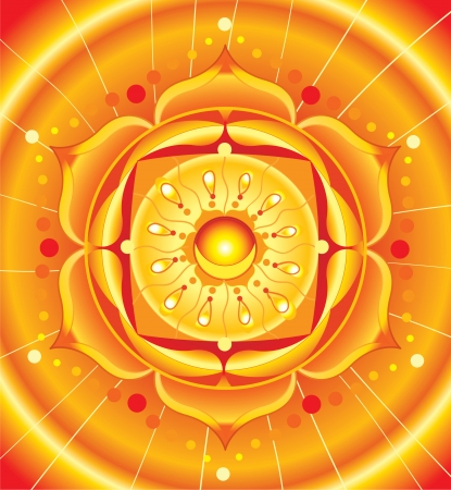 sacral: bright orange mandala of svadhisthana chakra vector