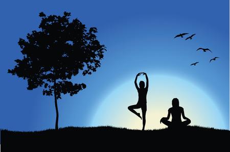 field and sky: due ragazze di yoga sulla collina nei pressi della struttura, fondo azzurro Vettoriali
