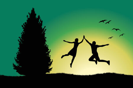 spruce tree: man and girl holding for hands and jumping on hill near spruce tree, green background