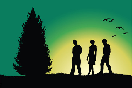 morning walk: two men and girl walking on hill near tree, green background