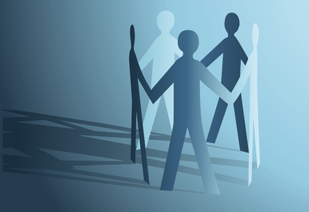 friendship circle: abstract paper people holding for hands vector