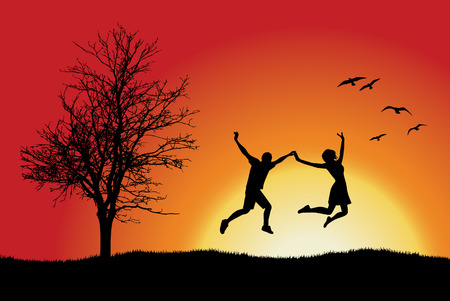 woman jump: man and girl holding for hands and jumping on hill near bare tree, orange background