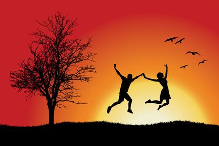 man en meisje bedrijf voor handen en springen op heuvel in de buurt van kale boom, oranje achtergrond