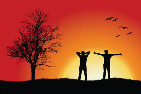 apart: two men standing on hill near bare tree, red background Illustration