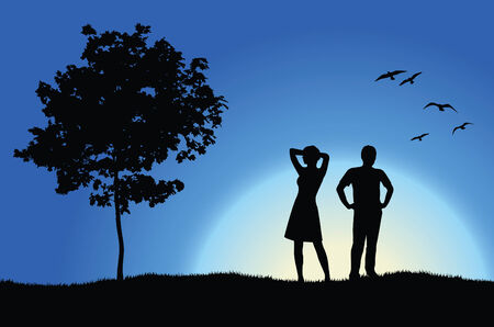 fun grass: man and girl standing on hill near tree, blue background
