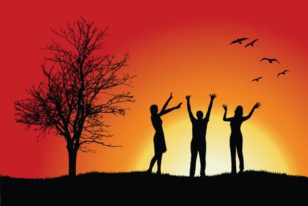 dos mujeres y hombre de pie en colina cerca de árbol desnuda, manos arriba, fondo rojo