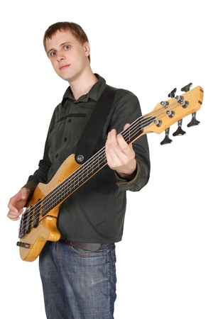 young caucasian man with bass guitar, half body, looking at camera, isolated photo
