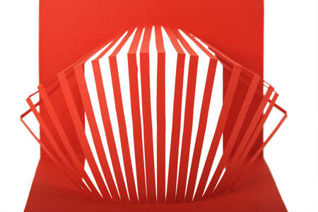 cut paper: abstract red paper composition with cutout stripes isolated
