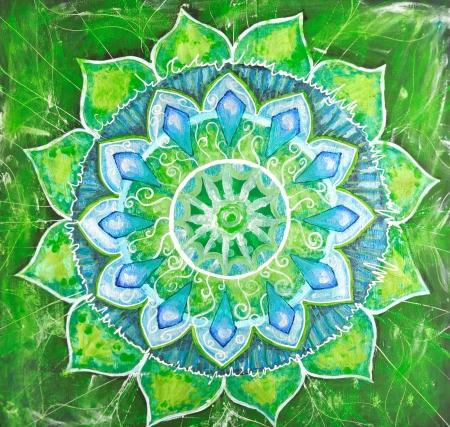 曼陀羅: 穴畑チャクラの曼荼羅、円パターンで抽象的な緑塗装済み完成品画像