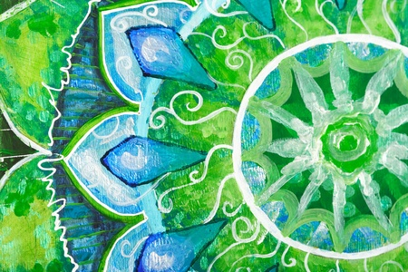 closeup of bright green painted picture with circle pattern, photo