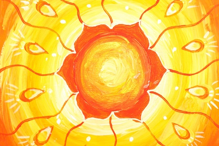 svadhisthana: closeup of bright orange painted picture with circle pattern, mandala of svadhisthana chakra