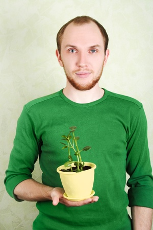 man in green shirt holding yellow flowerpot with Kalanchoe plant Stock Photo - 9151759