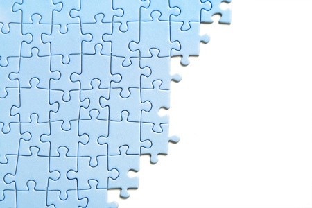 blue puzzle texture, isolated, view from above photo