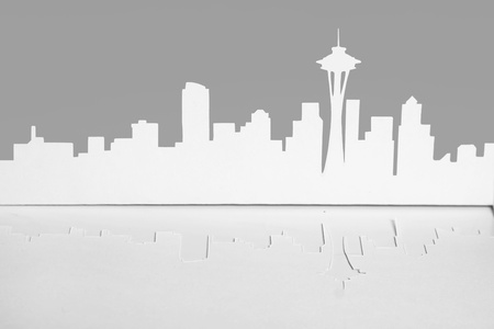 sever: abstract cutout paper silhouette of Seattle city, USA, Space Needle tower, front view Stock Photo