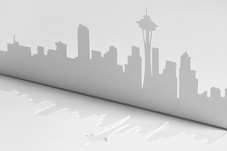 abstract cutout paper silhouette of Seattle city, USA, Space Needle tower photo