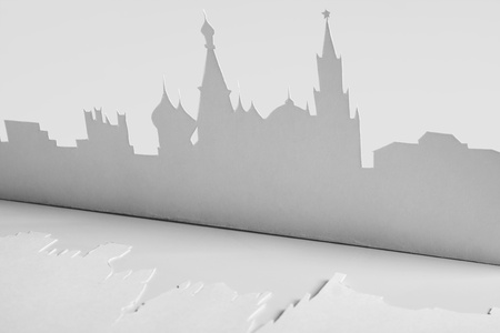 abstract cutout paper silhouette of Mocsow city, Russia, Kremlin photo
