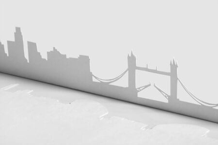 abstract cutout paper silhouette of London city, England, Tower Bridge photo