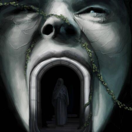 arcos de piedra: pintura escultura de rostro humano, persona en pie de túnica en arco en un mundo de fantasía, digital