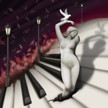 pianoforte: woman sculpture and bird in fantasy piano world, digital painting