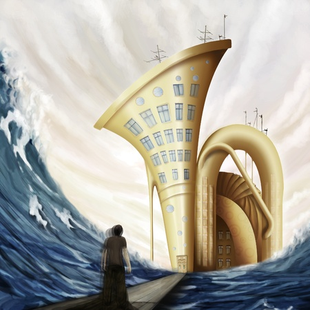 tuba: man standing on bridge near tuba house in ocean in fantasy world, digital painting Stock Photo
