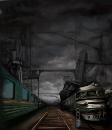 railway station: steampunk landscape with trains and metal buildings, digital painting