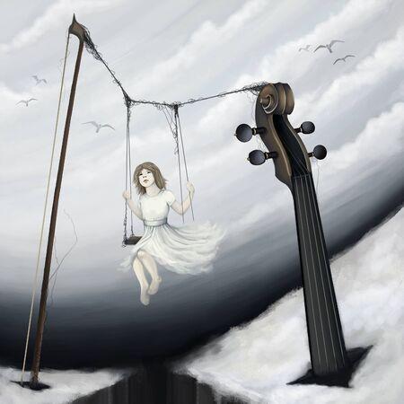 little girl sitting on violin seesaw in fantasy world, digital painting photo