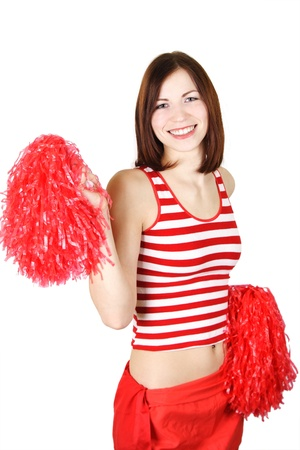 pom: beauty cheerleader girl in red holding pompoms and smiling, isolated Stock Photo