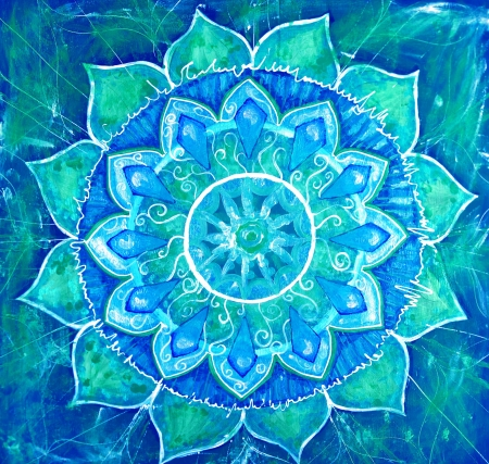 mandala flower: abstract blue painted picture with circle pattern, mandala of vishuddha chakra