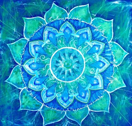 曼陀羅: vishuddha チャクラの曼荼羅、円パターンで抽象的なブルー塗装済み完成品画像