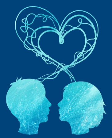 Abstract blue silhouette of couple heads, love concept photo