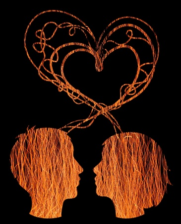 Abstract orange silhouette of couple heads, love concept photo