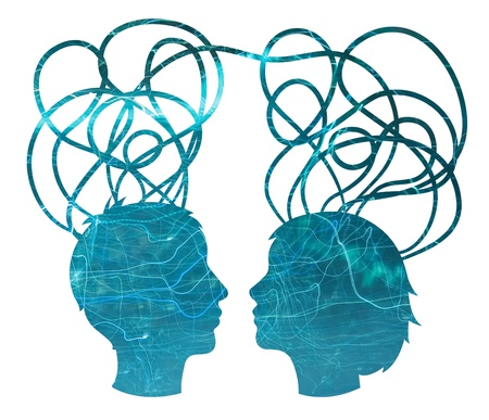 Abstract blue silhouette of couple heads, friendship concept photo