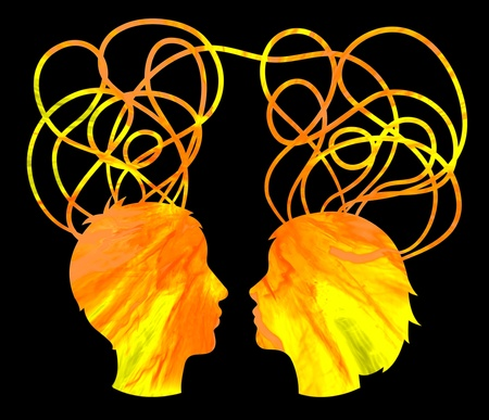 affinity: Abstract yellow silhouette of couple heads, friendship concept
