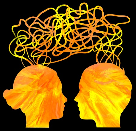 Abstract yellow silhouette of couple heads thinking, relationship concept photo