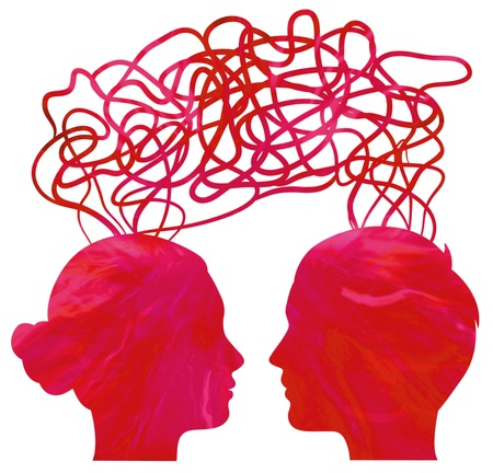 Abstract red silhouette of couple heads thinking, relationship concept photo