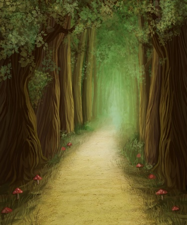magic mushroom: magic dark forest road, digital painting Stock Photo