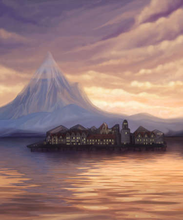 sunset landscape with lake, mountain and town on water, digital painting Stock Photo - 9452230