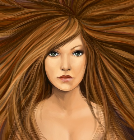 digital painting: young woman with long brunette hair, digital painting Stock Photo