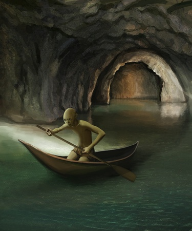 goblin in boat on underground lake, digital painting photo