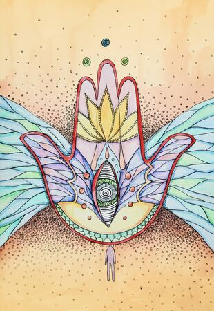 judaism: abstract hamsa hand with wings and eye, ink and watercolor illustration