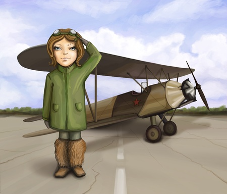 little aviator girl standing near airplane, smiling and giving salute, digital painting photo