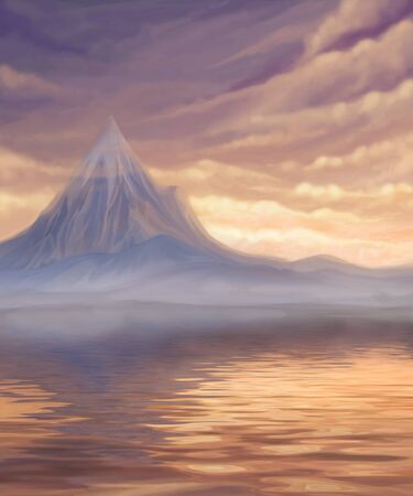 brink: sunset landscape with lake and mountain, digital painting